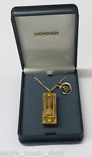Gold Plated Hohner Little Lady Playable Miniature Harmonica On Necklace