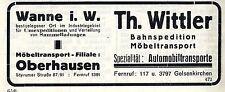 Th. Wittler Wanne/Oberhausen Bahnspedition * Automobiltransporte Reklame 1925