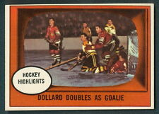 1961 62 TOPPS HOCKEY #44 DOLLAR ST-LAURENT GLENN HALL NM IN ACTION BLACK HAWKS