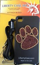 Apple iPhone 4 4s GEL case Black BLING PawPrint w/Adjustable Safety Neck Lanyard