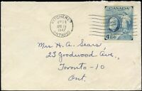 Canada 1947 KITCHENER-TORONTO, ON Cover with 4c Scott #274 stamp .