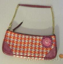 COACH ZIP PURSE pink plum tweed check & suede POPPY FLOWER TRIM