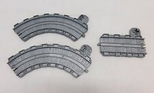 """3 Thomas & Friends Take Along N Play Gray Track 6"""" Curve Ct 4"""" Straight St Sign"""