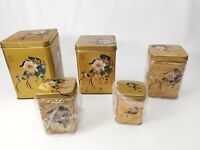 """Vintage - Collector Tin Tins - Oriental Asian Gold Nesting Bins 6.25"""" T to 3"""" T"""