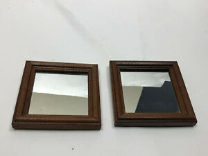 Vtg Small Decorative Wood Framed Hanging Wall Mirror Hang 2 Ways