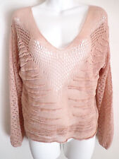 Free People beige tan  crochet knit top blouse top sexy size small price $89