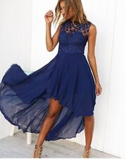 BNWT Angel Biba Navy Blue Lace & Chiffon Maxi Cocktail Dress 6 8 10 - SALE!