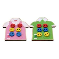 Kids Early Educational Toy Beads Lacing Board Wooden Toys Sew On Button FA