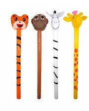 Bulk Wholesale Job Lot 24 Inflatable Jungle Animal Sticks Toys