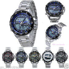 Mens Double Movement Waterproof Digital Sport Luxury Stainless Steel Wrist Watch