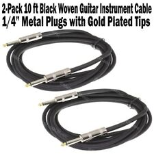 2-Pack 10 ft Black Woven Guitar Instrument Cable Cord Effect Patch Gold Tip 1/4""