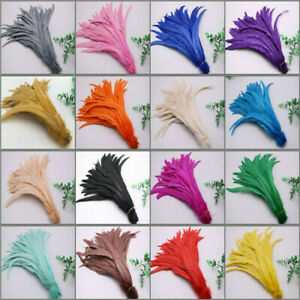 10-100pcs beautiful natural rooster tail feathers 10-18 inches/25-45cm 15 colors