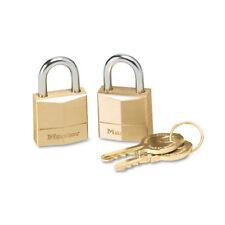 """Master Lock Three-Pin Brass Tumbler Locks 3/4"""" Wide 2 Locks & 2 Keys 2/Pack 120T"""