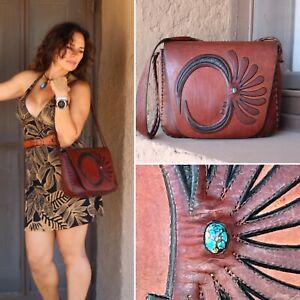 RARE 60s 70s WYLY's Leather Saddle Bag Statement Gypsy Boho Purse VTG OOAK