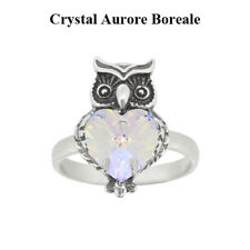 Sterling Silver Owl Ring made with 6228 Swarovski® Crystals * Colors with Effect