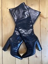 ZARA Brand New Mock Croc Black Knee High Heeled Boots UK4 EU36.5