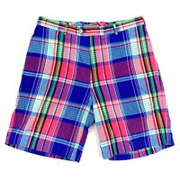 Peter Millar Men's 100% Cotton Madras Plaid Flat Front Shorts Blue Red • Size 32
