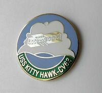 UNITED STATES NAVY USS KITTY HAWK CARRIER LOGO PIN 1 INCH