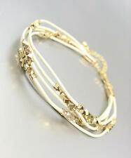 CHIC & SHIMMERY White Leather Multi Cords Faceted Gold Beads Bracelet