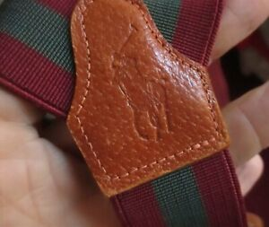 Polo By Ralph Lauren Burgundy/Green Striped W/Leather Togs Suspenders