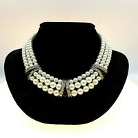 Vintage Multi Strand High Luster Faux Pearl Rhinestone Onyx Bead Necklace 15""
