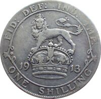 1911 TO 1919 GEORGE V SILVER SHILLING CHOICE OF YEAR / DATE