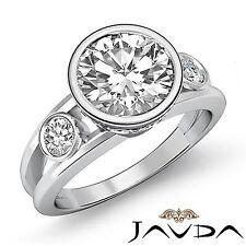 2ct Round Cut Bezel Set Diamond 3 Stone Engagement Ring GIA F VS1 14k White Gold