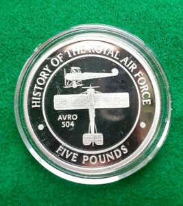 2008 1 oz  Silver Proof £5 History Of The Royal Air Force GIBRALTAR  Avro 504