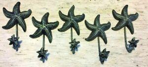 "SET OF 5 ANTIQUE BLUE GRAY STARFISH HOOKS ocean star fish seashell beach 6"" in"