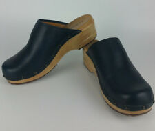 LL Bean Navy Blue Wood Clogs Womens 11 M Slipper Slip On Shoes Leather Mule 6175