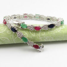 RUBY & Other Gemstones 925 Stamp Real Sterling Silver 7.8 CT Exclusive Bracelet