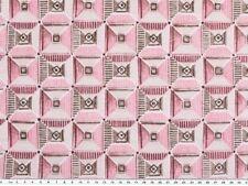 Dekostoff, Quadrate und Dreiecke, grau-rosa, 140cm