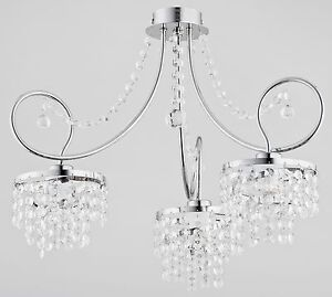 Crystals 3 arm Luxury Chandelier Modern Apartment Light Hallway Dining Diana New