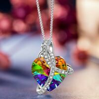 925 Silver Aurora Borealis Heart Pendant Necklace Made with Swarovski Crystals
