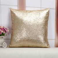 Glitter Pailletten Solid Gold Farbe Dekokissen Fall Cafe Kissenbezug Startseite~