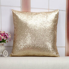Glitter Sequins Solid Gold Color Throw Pillow Case Cafe Cushion Cover Home Decor