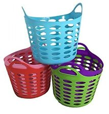 Set of 5 Baskets with Handles Assorted Colors Storage Organizer Home