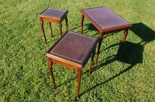 Smashing Nest of Three Occasional Tables - Tan Leather Style Glass Topped