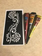 USA SELLER!! Henna Stencil Kit DYI #S207 + 3 Multicolored Henna Cones
