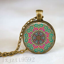 Moroccan Mandala Pattern Necklace Bronze pendant and chain Yoga Meditation