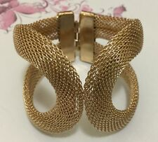 Gold plt Spring Opening chain braided sweetheart bracelet