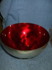 Enamel Dekra Silver Plate Red Colored Footed Fruit Bowl Germany