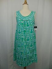 Ralph Lauren Sleepwear, Sleeveless Ikat Print Smocked Nightgown Green XS #3962