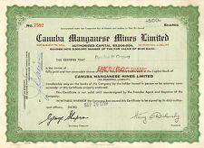Canada, Canuba Manganese Mines Limited, certificado de 500 acciones, 1958