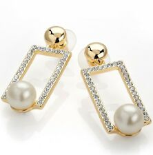 Earrings gold stud rectangle crystals pearl bead 4 cm drop  disc-evening-Party ❤