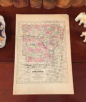 Original 1892 Antique Map ARKANSAS Fayetteville Arkadelphia Jonesboro Texarkana