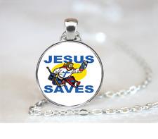 Jesus Saves Goalie Jesus PENDANT NECKLACE / Chain Glass Tibet Silver Jewellery