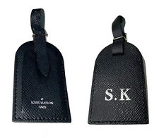 Louis Vuitton Name Tag SK Stamped Initials - Authentic • Black  Rare Leather