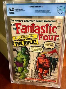 Fantastic Four #12, CBCS (not CGC) 5.0 (VG/FN), 1st Hulk vs. Thing Battle!!