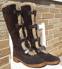 Vintage Suede Boots Yugoslavia Wool Sheepskin Leather Buckle Womens 7.5 Bavaria